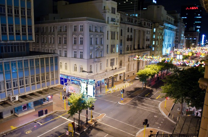 View of Christmas lights on Adderley Street, Cape Town