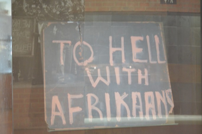 Placard from the Soweto uprising at the Hector Pieterson Museum