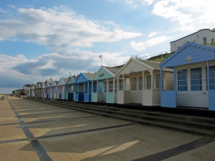 Southwold Beach Huts in the sunshine