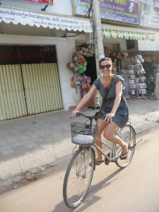 Miranda on her bicycle in Siem Reap