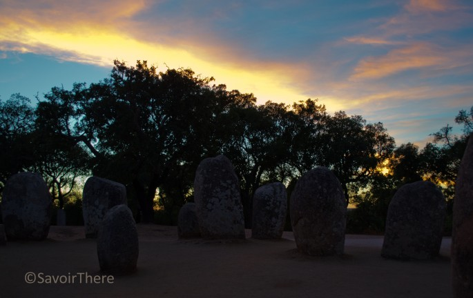 Sunset at the Almendres monument