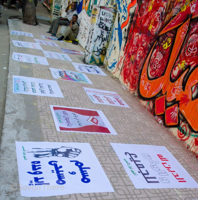 Slogans on the ground in Tahrir Square, Cairo