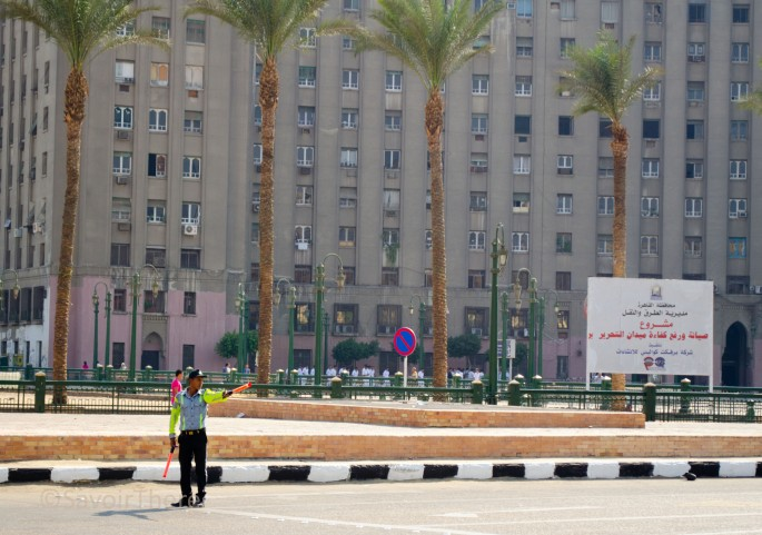 Directing traffic in Cario's Tahrir Square