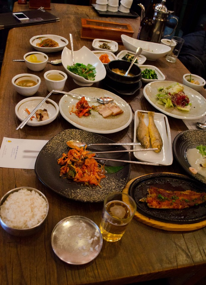 The table was laden with small dishes at lunchtime