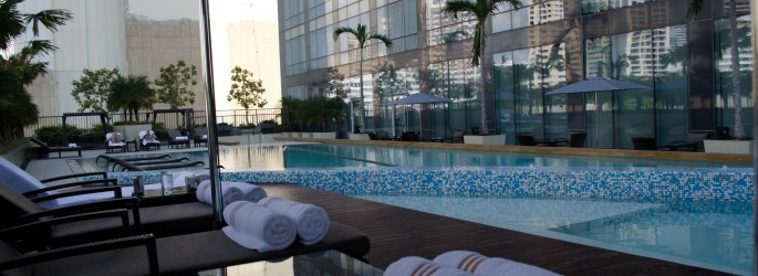 The pool at The Fairmont Hotel, Makati