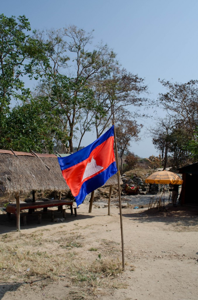 The Cambodian flag is displayed prominently at Preah Vihear Temple