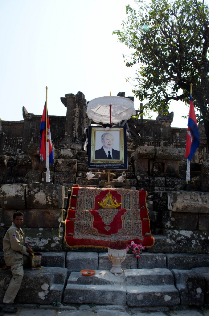 Portrait of former Cambodian King Sihanouk at Preah Vihear Temple