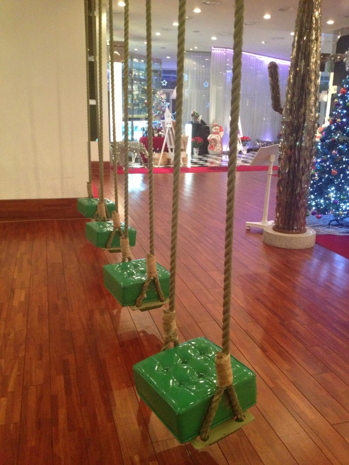 Rope swings seats in the lobby of IP Boutique hotel Seoul