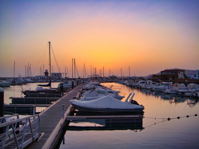Sunset over boats in Lanzarote