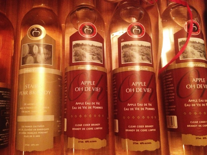 Merridale cidery's brandy and Eau de vie