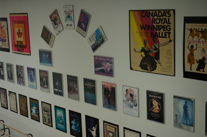 Posters on the studio walls at the Royal Winnipeg Ballet