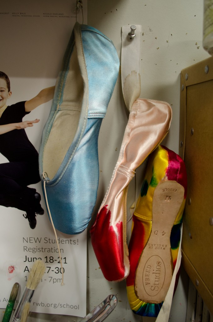 Multi-coloured ballet shoes
