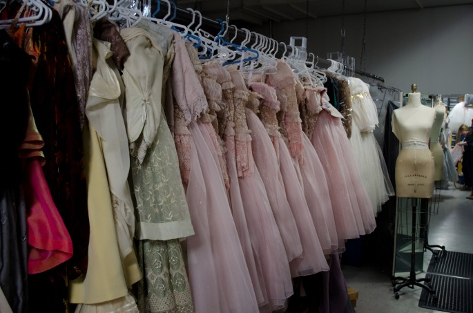 Rows of costumes at the Royal Winnipeg Ballet
