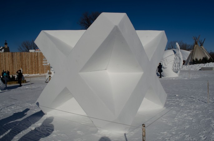 One of the more angular snow sculptures