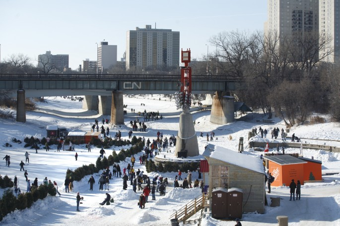 The frozen river trail at it's busiest - luckily there weren't this many people around when I was let loose on skates