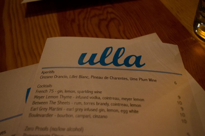 The menu at Ulla