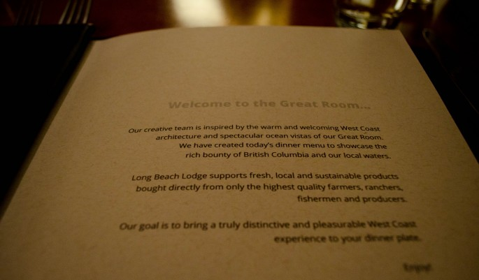 Menu at The Great Room