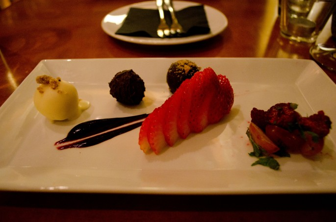 Truffle trio with strawberries