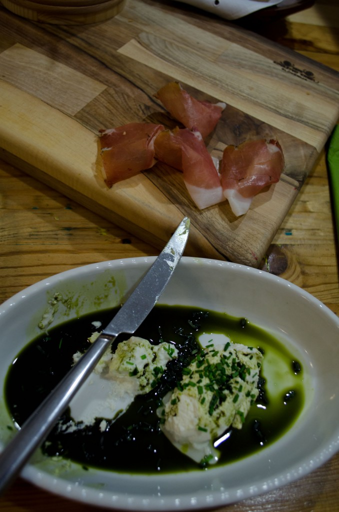 Karst region prosciutto and Slovenian cottage cheese with pumpkin oil
