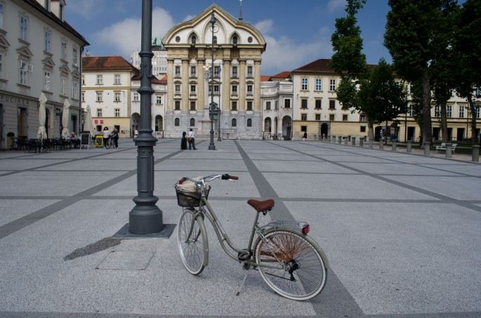 Exploring Ljubljana's streets and squares by bicycle