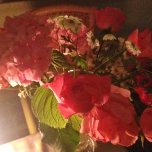Flowers from the owner's home garden adorn the table at Manna