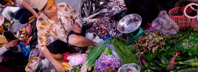 Shopping for vegetables in Siem Reap's local market