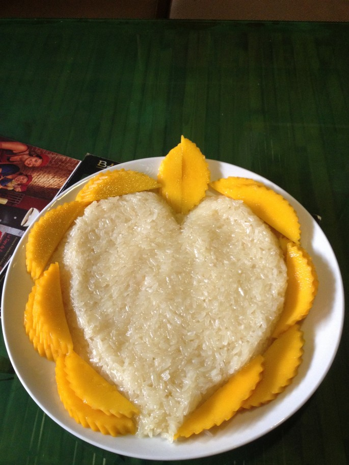 Mango and sticky rice; a typically South-East Asian dessert