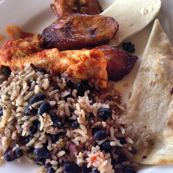Gallo Pinto, huevos rancheros and plantain for breakfast