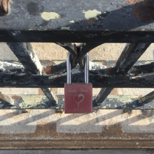 Lover's padlocks on London Bridge