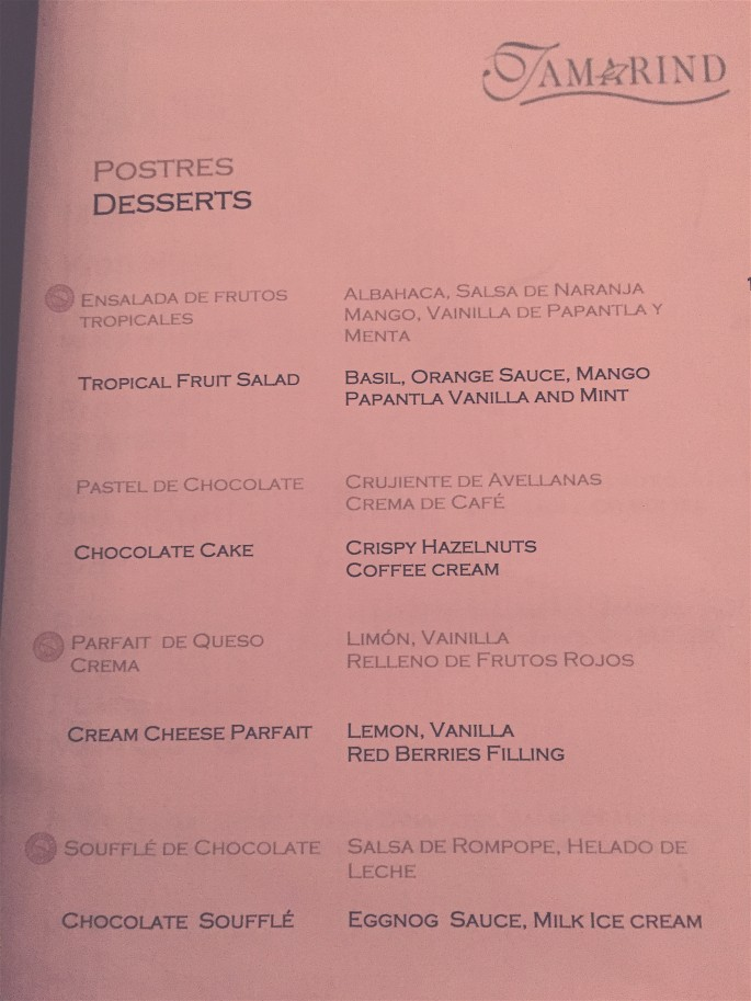 The dessert menu at tamarind