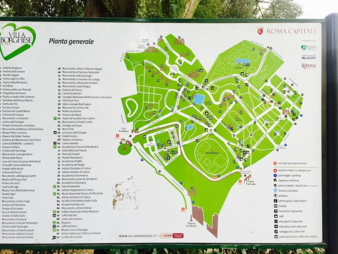 Villa Borghese map