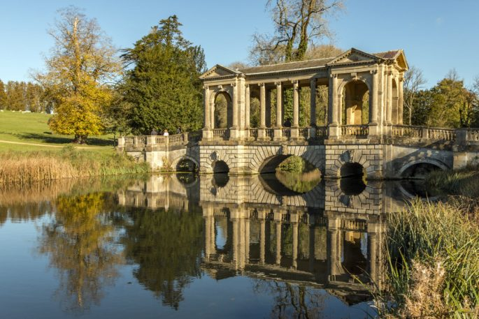 The Palladian Bridge in autumn at Stowe, Buckinghamshire