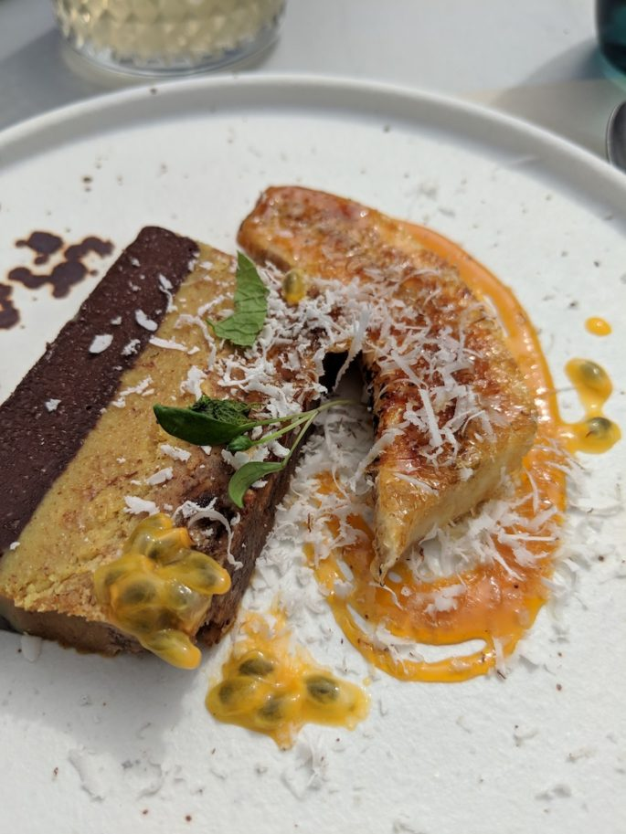Raw cacao delice, caramelised banana and passion fruit