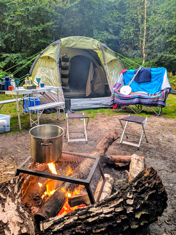 camping set up in Sussex