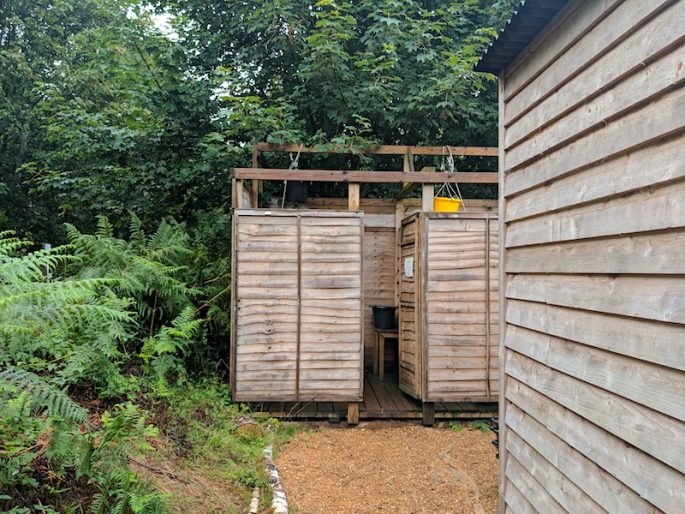 shower block at Eco Camp Sussex