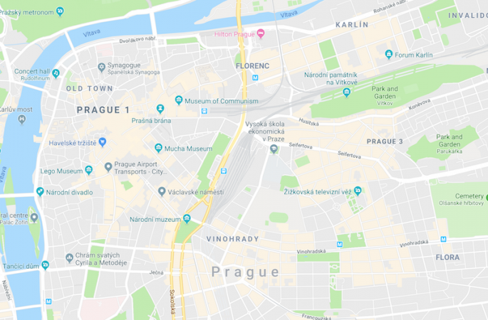 Prague area map