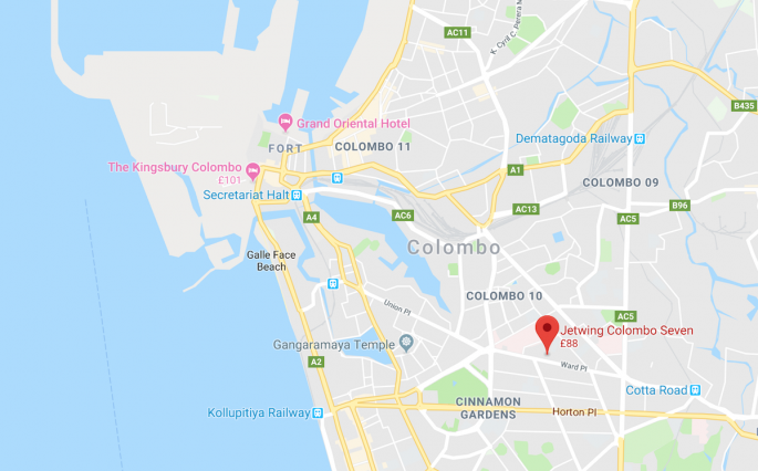 Map of Jetwing Colombo Seven Hotel location