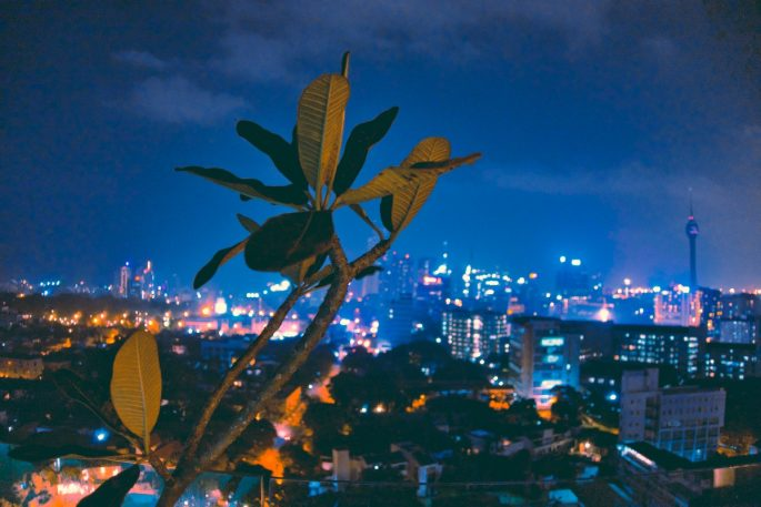 Colombo By Night lights of the city twinkling