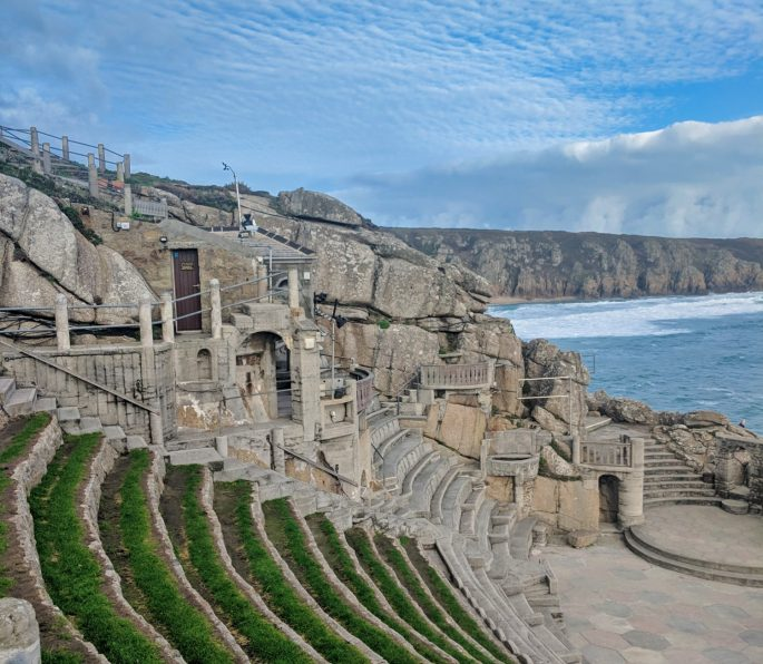 Minack Theatre with blue sky