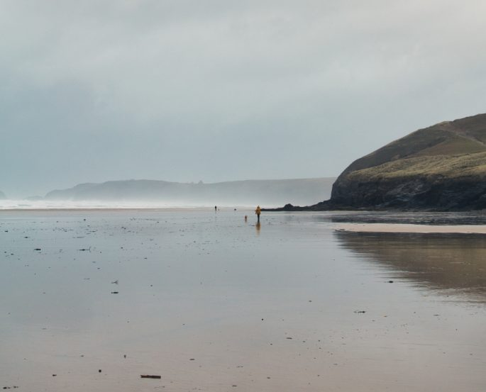 a deserted Cornwall beach looking moody