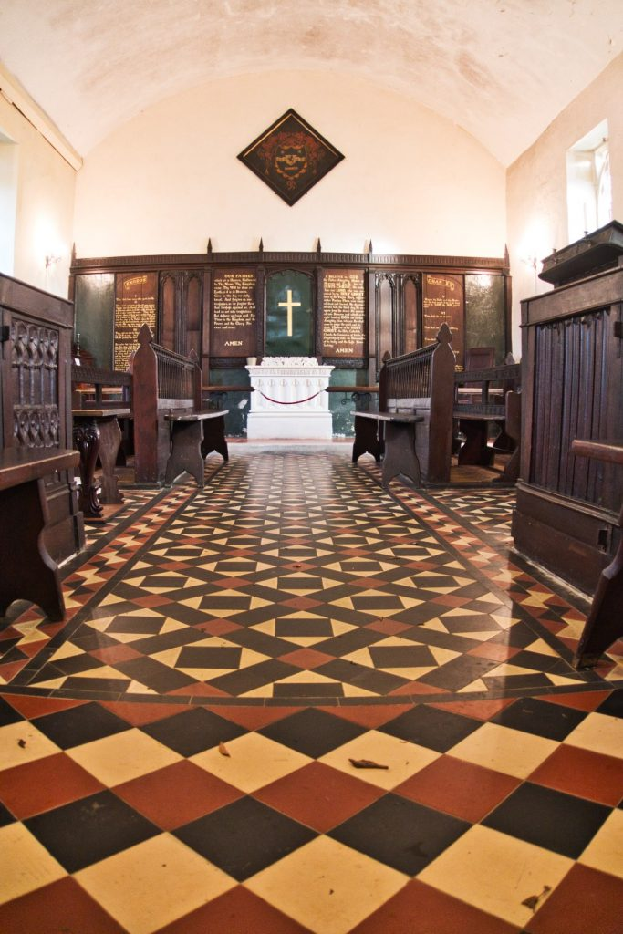 Wolford Chapel's interior