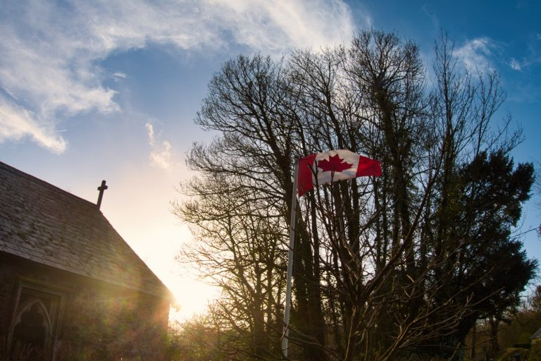 Wolford Chapel with Canada Flag