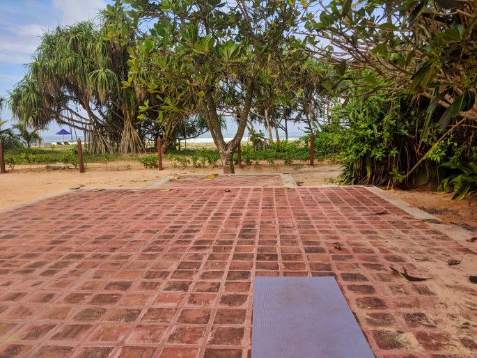 Yoga outside at Barberyn Sands