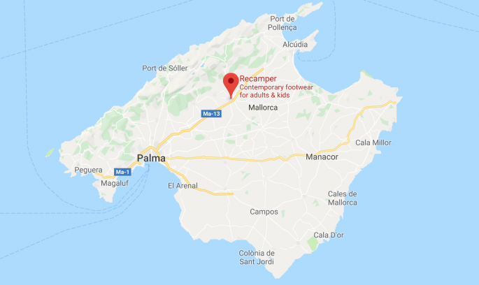 Mallorca map with Camper outlet marked