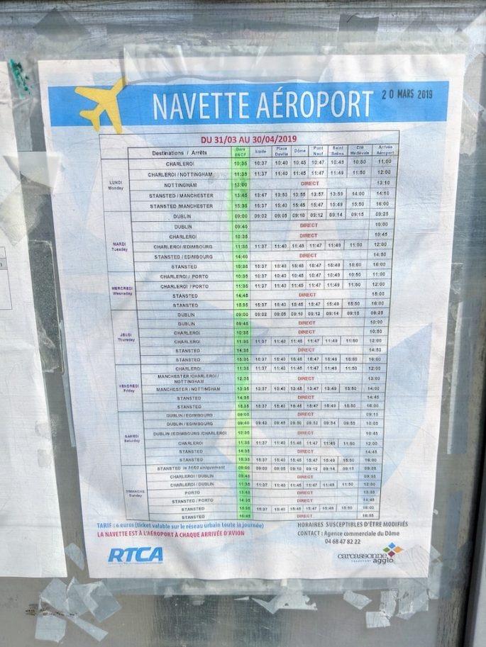 Carcassonne Airport Shuttle Bus Timetable