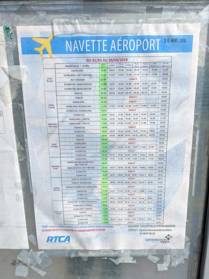 Carcassonne Airport Shuttle Bus Timetable