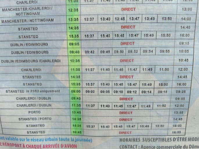 Carcassonne airport shuttle bus timetable 2019