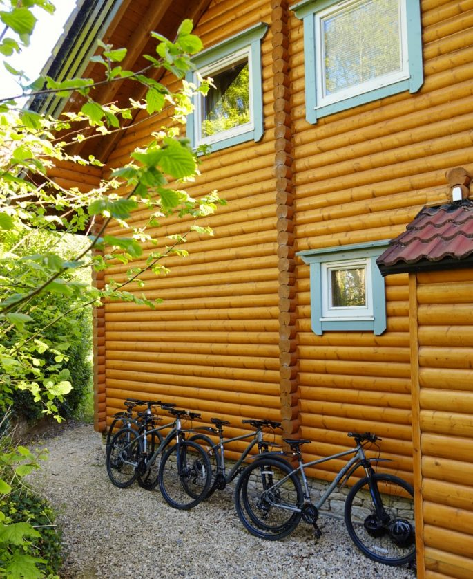 biking at the log cabin