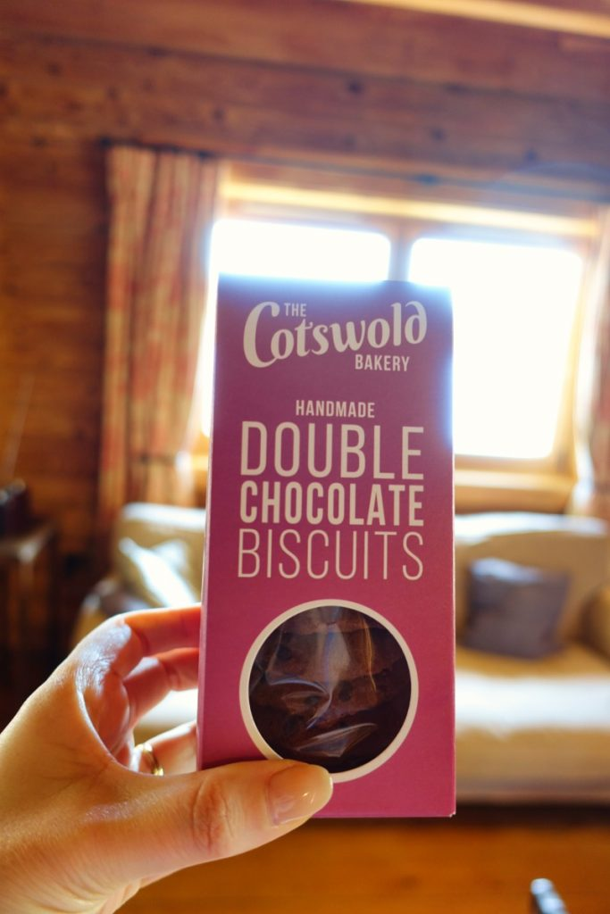 cotswolds chocolate biscuits at my log cabin
