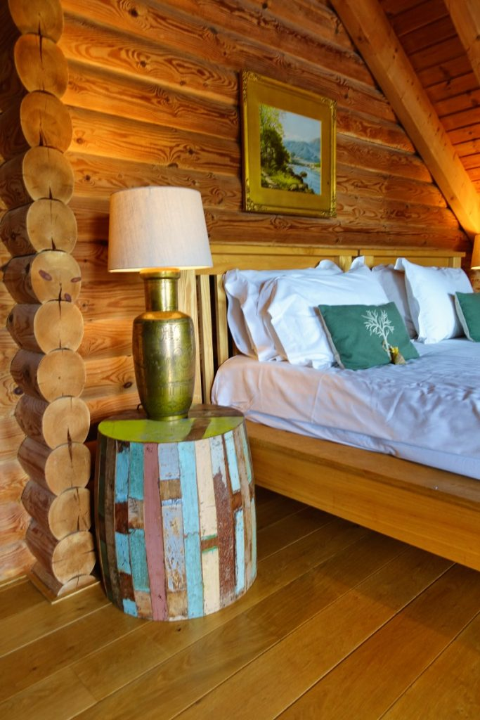 log house master bedroom lamp